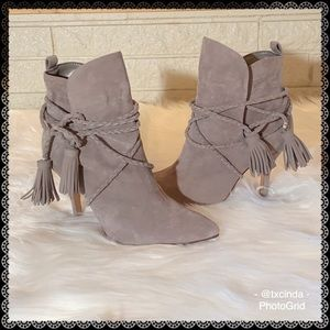 SCHUTZ Fadhila Mouse Gray Suede Leather Booties